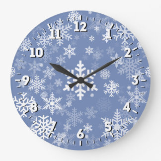 Snowflakes Graphic Customize Color Background on a Wallclocks