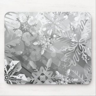 snowflakes gray greys winter digital realism layer mouse mat