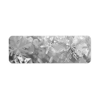 snowflakes gray greys winter digital realism layer return address label