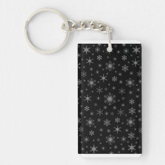 Snowflakes - Gray on Black Rectangular Acrylic Key Chain