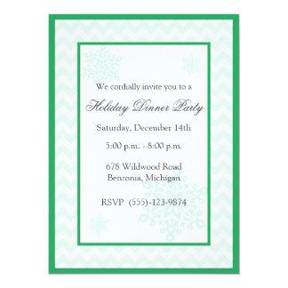 "Snowflakes Green Chevron Holiday Party Invitations 5.5"" X 7.5"" Invitation Card"