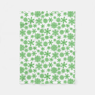 Snowflakes green Fleece Blanket