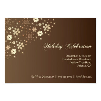 Snowflakes Holiday Celebration Brown Party Invites