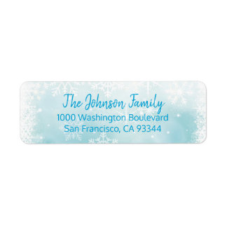 SNOWFLAKES Holiday Christmas Blue Return Address