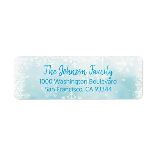 SNOWFLAKES Holiday Christmas Blue Return Address