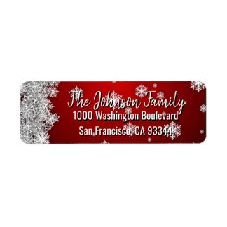 SNOWFLAKES Holiday Christmas RED Return Address