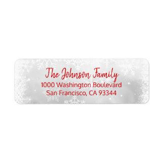 SNOWFLAKES Holiday Christmas RED Return Address