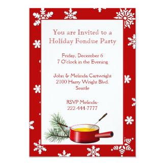 Snowflakes Holiday Fondue Party Invitation