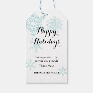 Snowflakes Holiday gift tag for service providers