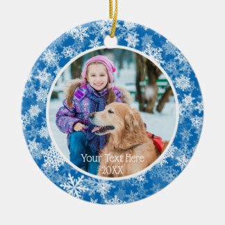 Snowflakes in Blue and White, Two Photo, Two Sided Christmas Ornament