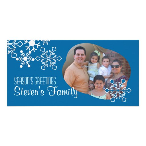 Snowflakes IN Blue Photo Card