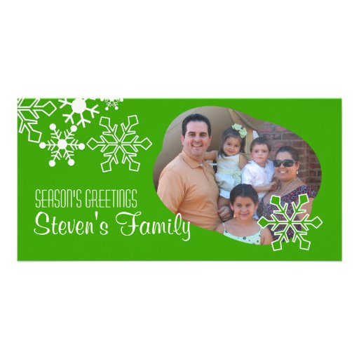 Snowflakes IN Green Photo Card