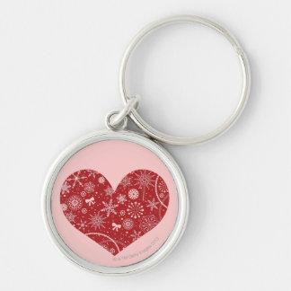 Snowflakes in Heart Key Ring
