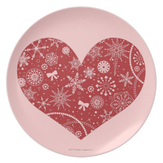 Snowflakes in Heart Plate
