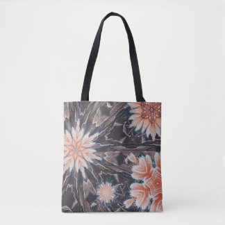 Snowflakes in Orange Winter Theme Tote Bag