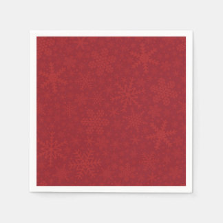 Snowflakes in Red   Holiday Napkins Disposable Serviette