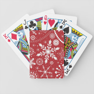 Snowflakes in Stocking Bicycle Playing Cards