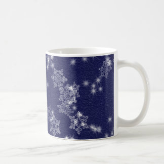 Snowflakes in the night sky basic white mug