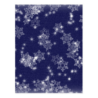 Snowflakes in the night sky postcard