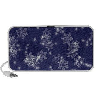 Snowflakes in the night sky notebook speakers