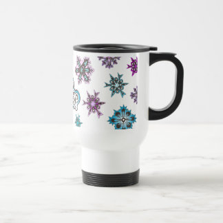 Snowflakes - Let It Snow - White Travel Mug