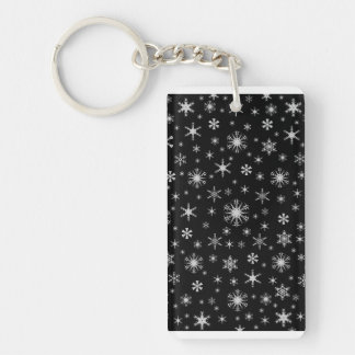 Snowflakes - Light Gray on Black Rectangular Acrylic Key Chains