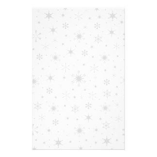 Snowflakes – Light Gray on White Stationery