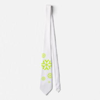 Snowflakes, lime green tie