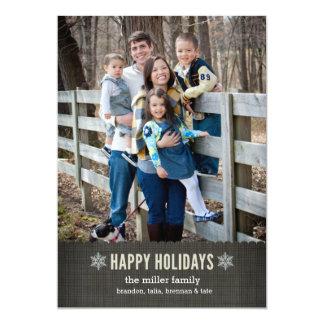 Snowflakes & Linen Holiday Christmas card