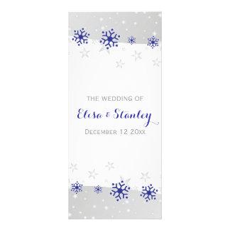 Snowflakes modern blue grey winter wedding program rack card