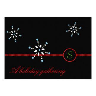 Snowflakes Monogram Holiday Invitation