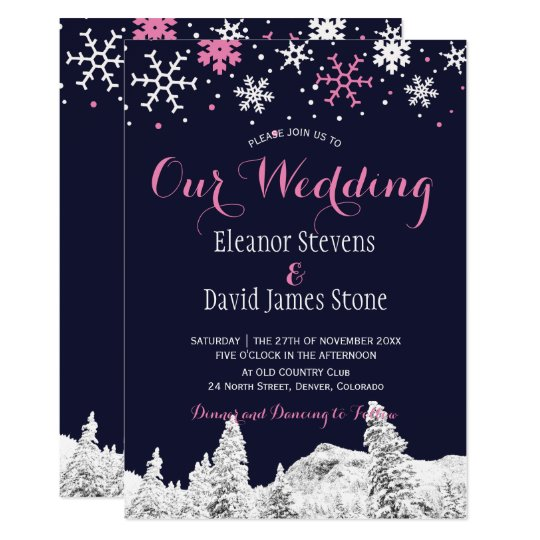 Snowflakes navy pink winter woodland wedding card