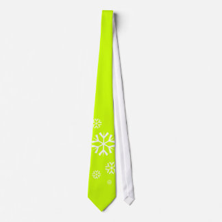 Snowflakes, neon green, Holidays Tie