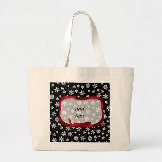 Snowflakes on Black Background Jumbo Tote Bag
