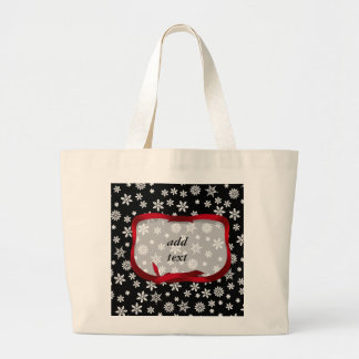 Snowflakes on Black Background Canvas Bags