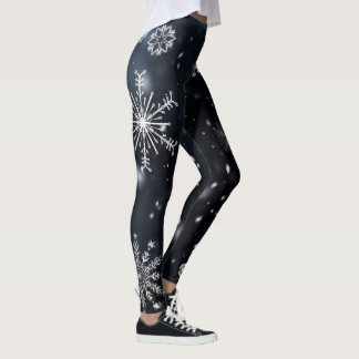Snowflakes on black leggings
