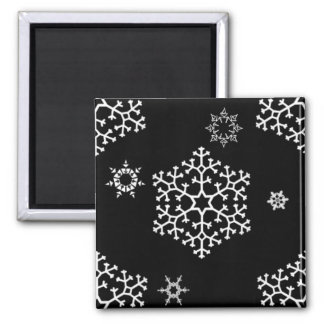 snowflakes_on_black square magnet