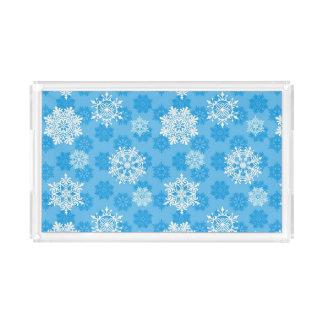 Snowflakes on Blue Background Acrylic Tray