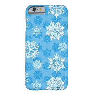 Snowflakes on Blue Background Barely There iPhone 6 Case