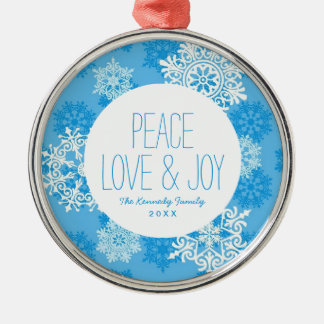 Snowflakes on Blue Background Christmas Ornament