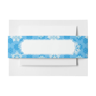 Snowflakes on Blue Background Invitation Belly Band