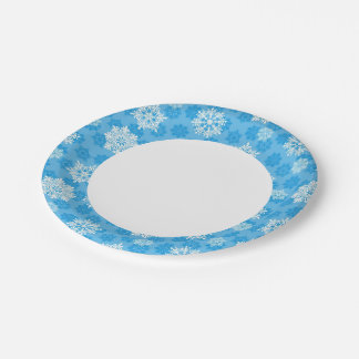 Snowflakes on Blue Background Paper Plate