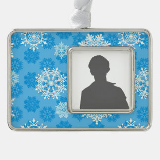 Snowflakes on Blue Background Silver Plated Framed Ornament