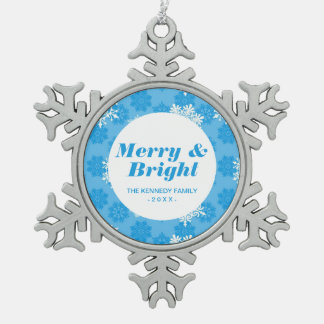 Snowflakes on Blue Background Snowflake Pewter Christmas Ornament