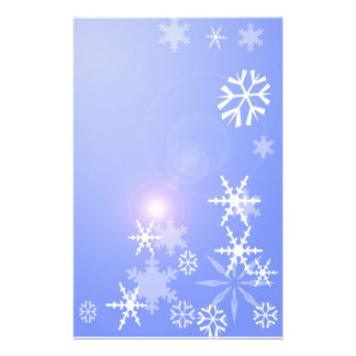 Snowflakes on Blue Christmas Stationary Stationery