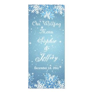 Snowflakes on blue Christmas Wedding Menu 10 Cm X 24 Cm Invitation Card