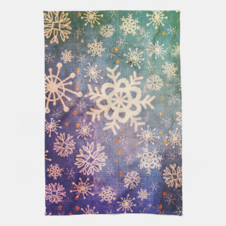 Snowflakes on Blue Denim Tie-dye Kitchen Tea Towel