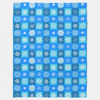 Snowflakes On Blue Fleece Blanket