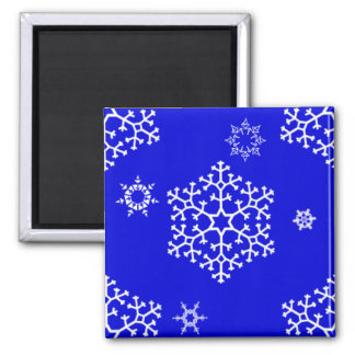 snowflakes_on_blue square magnet