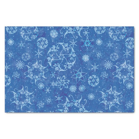 Snowflakes on Blue Tissue Paper